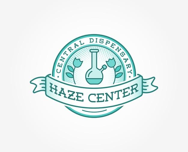 Medizinische cannabis-marihuana-zeichen- oder etikettenvorlage.