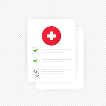Medizinische checkliste zwischenablage abbildung. vektor auf isoliertem transparentem hintergrund. eps 10.