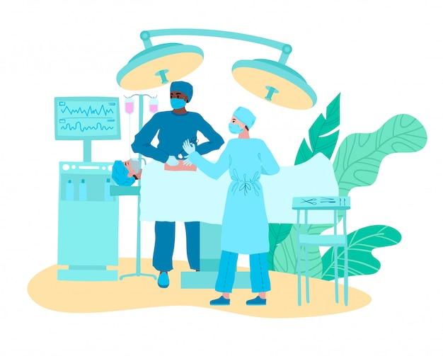 Medizinische chirurgen der ärzte im operationssaal auf chirurgiekarikaturillustration lokalisiert auf weiß.