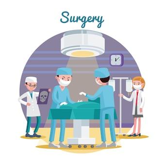 Medizinische chirurgie flache zusammensetzung