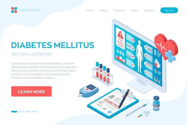 Medizinische diagnose, diabetes. blutzuckermessgerät, pillen, spritze und insulinfläschchen.