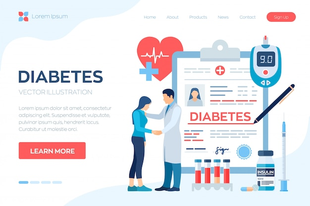 Medizinische diagnose - diabetes. diabetes mellitus typ 2 und insulinproduktion. doktor, der um patienten sich kümmert.