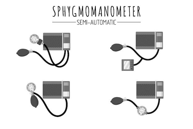 Medizinische diagnosegeräte zur kontrolle des blutdrucks halbautomatische blutdruckmonitore oder sphygmomanometer. isolierte illustration der vektorkarikatur auf weißem hintergrund. medizinisches konzept.