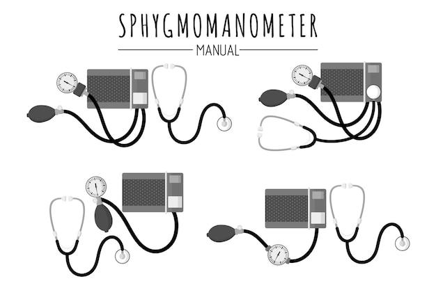 Medizinische diagnosegeräte zur kontrolle des blutdrucks manuelle blutdruckmessgeräte oder sphygmomanometer. isolierte illustration der vektorkarikatur auf weißem hintergrund. medizinisches konzept.