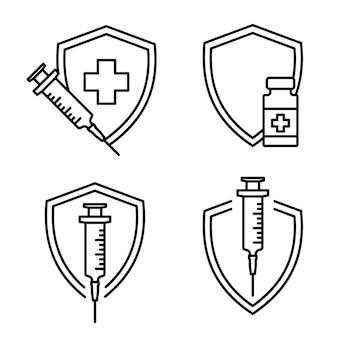 Medizinische einwegspritze impfstofffläschchen und schutzimpfung mit impfstoffflasche und spritze