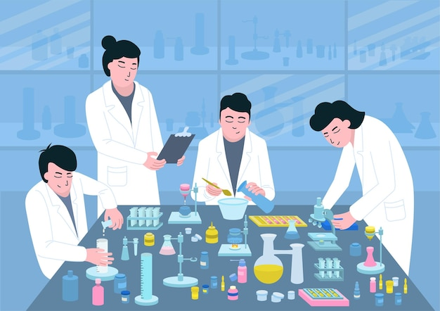 Medizinische entwicklung am tisch der pharmazeutika auf einer flachen illustration des blauen hintergrundes