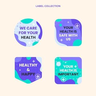 Medizinische etiketten und abzeichen im flachen design