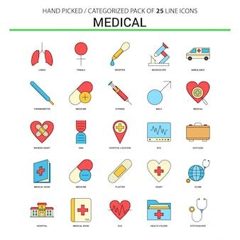 Medizinische flache linie ikone eingestellt - geschäfts-konzept-ikonen-design