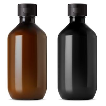 Medizinische flasche aus braunem und schwarzem glas. e fläschchen mit flüssigem oder ätherischem öl. flasche für medizinischen sirup, bio-apotheke. kosmetische aromaessenz glänzende flakonillustration, realistische serumbehandlung