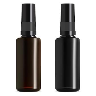Medizinische flasche aus schwarzem und braunem glas. fläschchen mit ätherischen ölen.