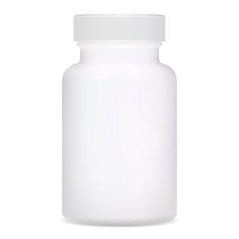Medizinische flasche. ergänzungspaket aus weißem kunststoff