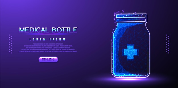 Medizinische flasche low-poly-drahtmodell