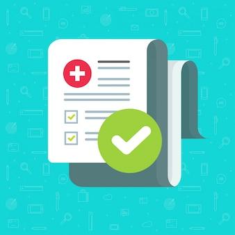 Medizinische formularcheckliste mit ergebnisdaten und anerkannter flacher karikatur der häkchenikone