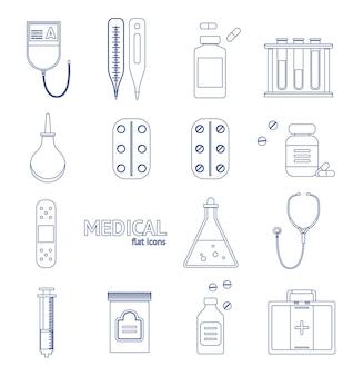 Medizinische geräte für das gesundheitswesen dünne linie icon set auf einem hintergrund-design-stil. vektor-illustration