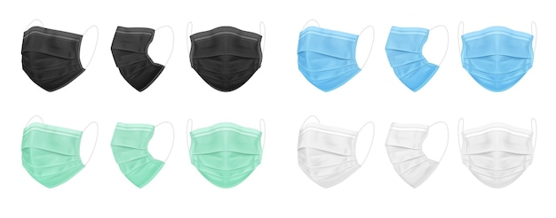 Medizinische gesichtsmaske blau schwarz weiß grün