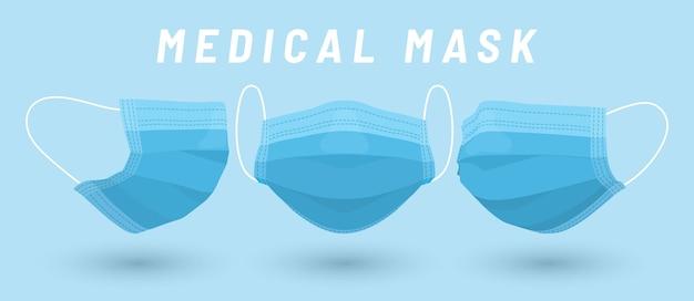 Medizinische gesichtsmaske. blaue medizinische maske im karikaturstil.