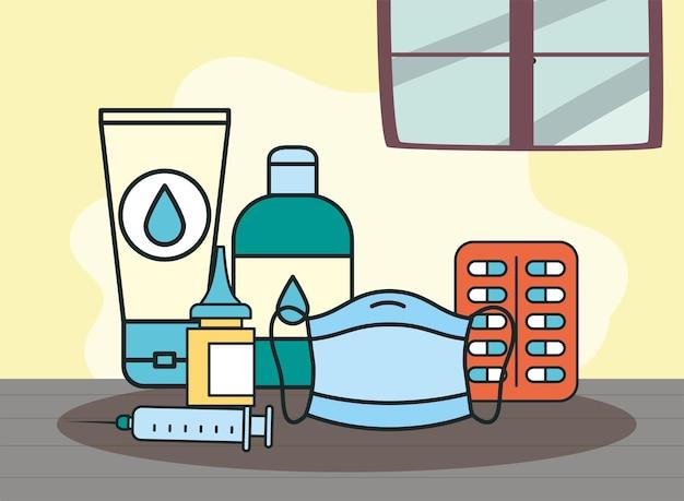 Medizinische gesichtsmasken und medikamente