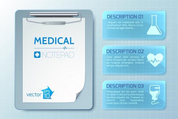 Medizinische gesunde infografiken mit notizblock und fahnen mit text und symbolen auf lichtillustration