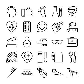 Medizinische, gesundheits- und krankenhauslinie ikonen
