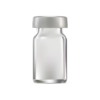 Medizinische glasfläschchen-impfstoff-injektionsampulle leer realistisches transparentes verpackungsdesign