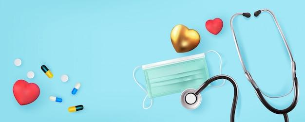 Medizinische grafik banner mit stethoskop, medizinische maske, herz und pillen illustration