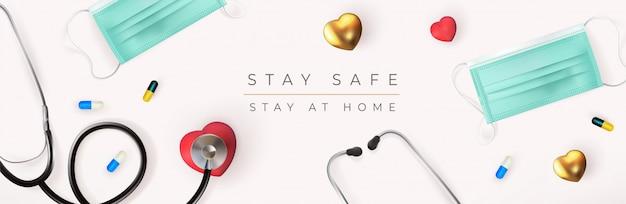 Medizinische grafikfahne mit stethoskop, medizinischer maske, herz und pillenillustration auf weißem hintergrund