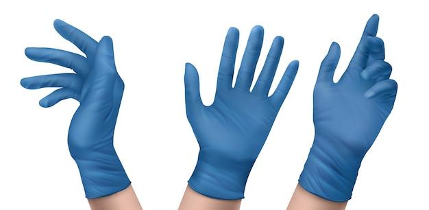 Medizinische handschuhe aus blauem nitril an den händen. realistischer satz steriler latex- oder gummihandschuhe