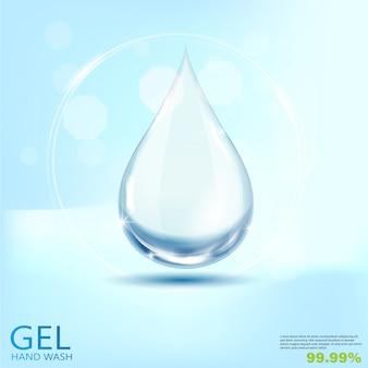 Medizinische handwäsche-gel-anzeigen, klare flasche in der 3d-illustration