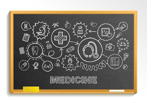 Medizinische handzeichnung integrieren symbolsatz auf schulbehörde. skizze infografik illustration. verbundenes doodle-piktogramm, interaktives konzept für gesundheitswesen, arzt, medizin, wissenschaft, notfall, apotheke