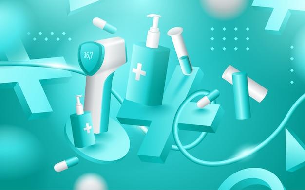 Medizinische hilfsmittel, arzttherapie und behandlungsgegenstände. illustration