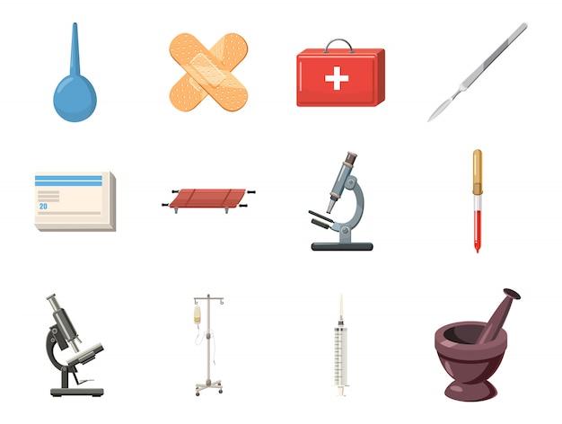 Medizinische hilfsmittelelementset. karikatursatz medizinische werkzeuge