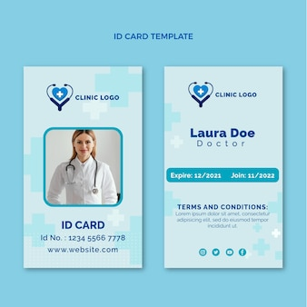 Medizinische id-kartenvorlage im flachen design