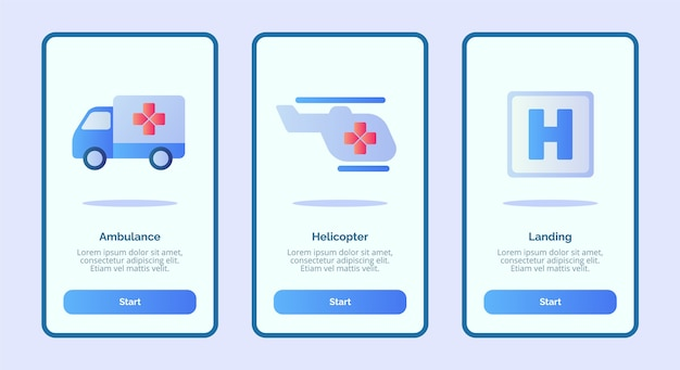 Medizinische ikone krankenwagen hubschrauber landung für mobile apps