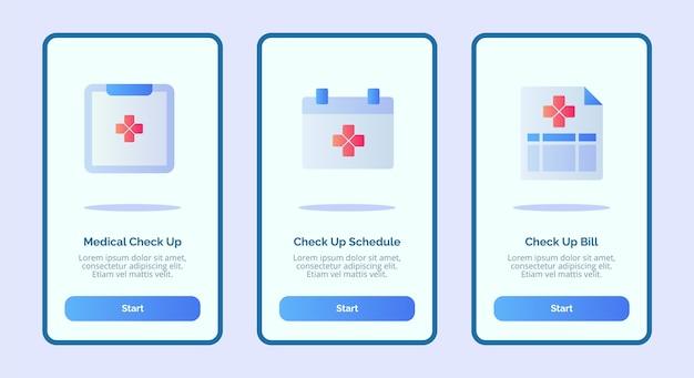 Medizinische ikone medizinische check-up-zeitplan rechnung für mobile apps vorlage banner seite benutzeroberfläche