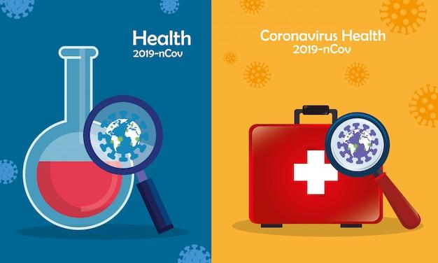 Medizinische ikonen mit partikeln von 2019 ncov