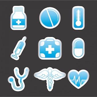 Medizinische ikonen über schwarzer hintergrundvektorillustration
