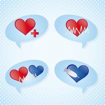 Medizinische ikonen über weißer hintergrundvektorillustration