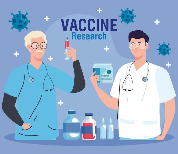 Medizinische impfstoffforschung, männliche gruppenärzte in der entwicklung coronavirus covid19 impfstoff.