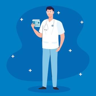 Medizinische impfstoffforschung, männlicher arzt mit box-impfstoff, entwicklung coronavirus covid 19-impfstoff.