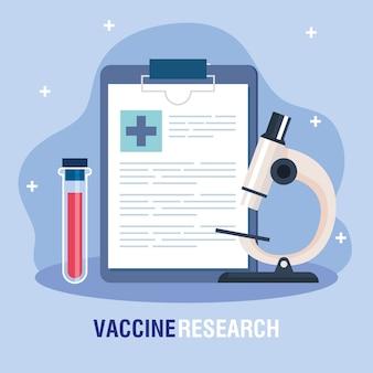 Medizinische impfstoffforschung, mit checkliste, röhrentest und mikroskop, illustration einer wissenschaftlichen viruspräventionsstudie