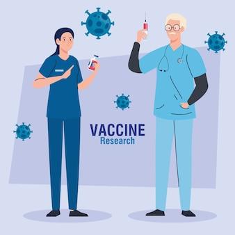 Medizinische impfstoffforschung, paar ärzte fachleute auf entwicklung coronavirus covid19 impfstoff.