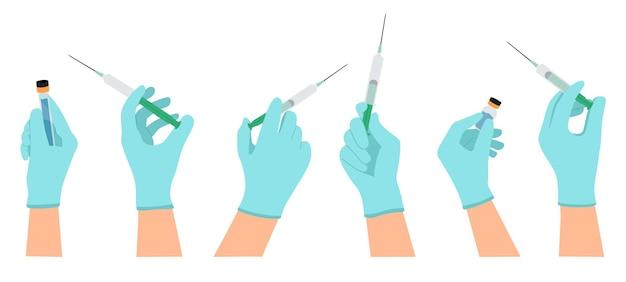 Medizinische impfung die hände des arztes halten die spritze und die impfflasche, die gegen coronavirus oder grippe geimpft wurde