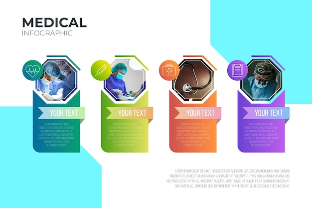 Medizinische infografik mit bildvorlage