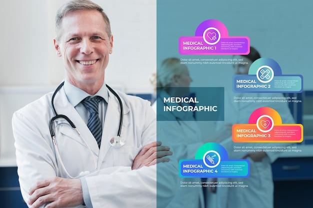 Medizinische infografik mit foto des arztes