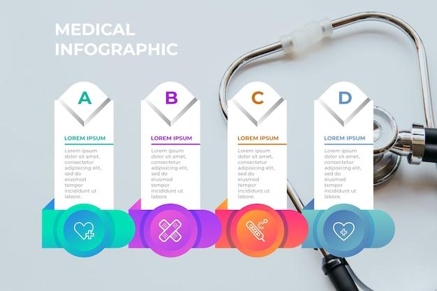 Medizinische infografik mit foto und schritten