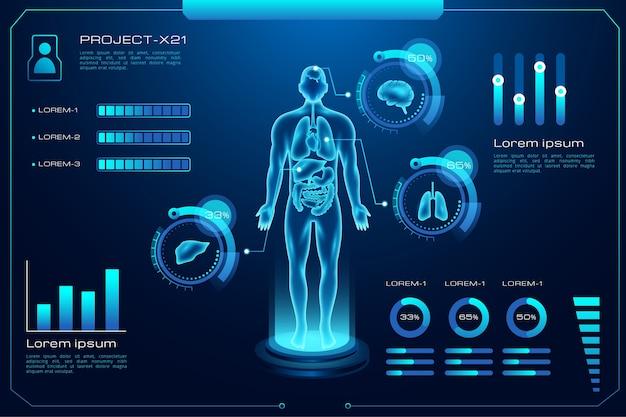 Medizinische infografik mit futuristischer technologie