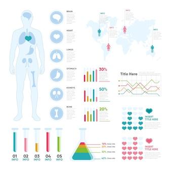 Medizinische infografik mit verschiedenen diagrammen