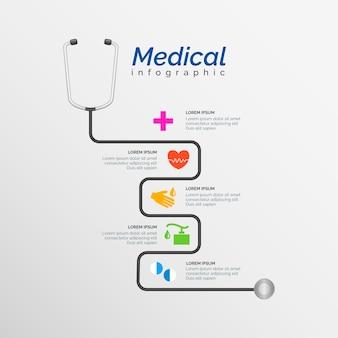 Medizinische infografik vorlage mit stethoskop