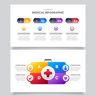 Medizinische infografiken mit farbverlauf