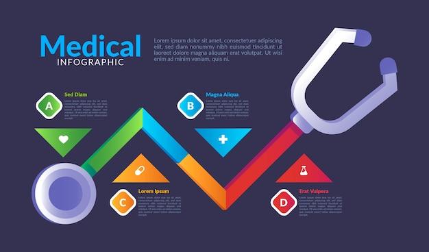 Medizinische infografiken mit farbverlaufsvorlage